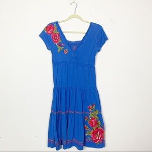 Johnny Was Embroidered Cap Sleeve Tiered Dress XS